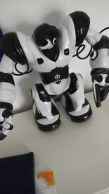 White And Black Robot with the controller
