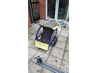 Halfords Bicycle Trailer Bike Jogger Double Buggy Seat For Baby Child Kids
