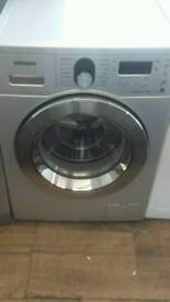 SAMSUNG SILVER 8KG LOAD 1200 SPIN DIGITAL SCREEN ECO BUBBLE GRADED WASHING MACHINE