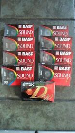 Bundle of 9 Blank Cassette Tapes - New & Sealed