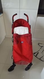 Chicco Liteway in Red - Excellent Condition inc Footmuff & raincover