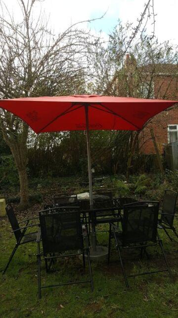 Garden Glass Table 6 Folding Chairs Coca Cola Parasol Umbrella