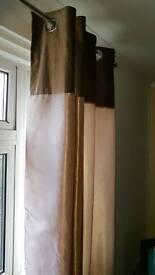Brown/beige velvet striped curtains
