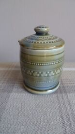 Vintage Irish Wade shamrock design jam condiment jar with spoon and lid.