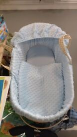 Baby Blue Moses Basket & Stand