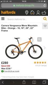 Men's orange careera mountain bike like new
