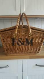 F & M wicker hamper basket