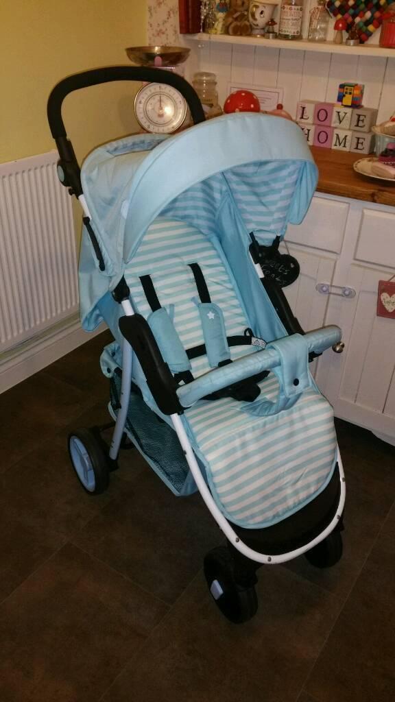 Babiie blue stroller pushchair