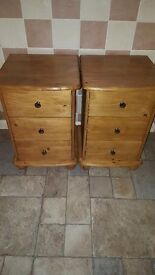 Bedside cabinets pine excellent condition