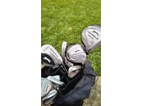 Full set of Slzenger golf clubs with golf bag and balls. Used but in great condition.