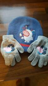George pig hat and gloves