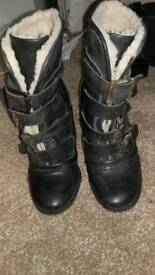 River island black leather boots size 4
