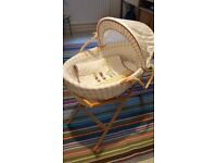 Mamas & Papas moses basket, stand and coverlet