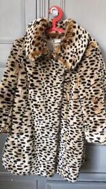 Lipsy faux fur leopard print coat size 8