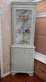Half glazed corner display cabinet with light