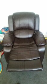 3 Seater Black Leather Sofa and 1 Seater Black Leather Recliner