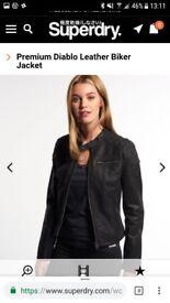 Brand new! Superdry premium diablo biker real leather womens jacket. Size medium (about uk size 10)