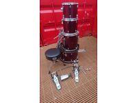 5 piece drum kit, wine red. ***please read description***quick sale required***