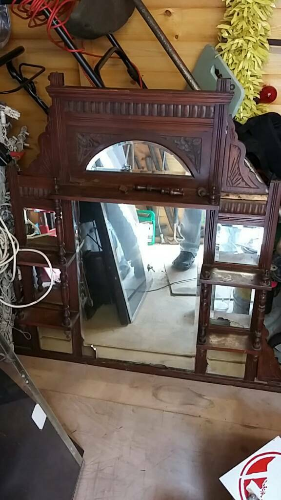Antique Old Vintage Bar Pub Back Mirror Shelf