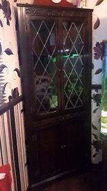 Dark oak welshe corner cabinet