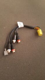 CAR STEREO AMPLIFIER YELLOW MINI ISO RCA LINE OUTPUT LEADS (PC3-11)