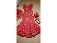 Red and gold lengha asian wedding dress size 10
