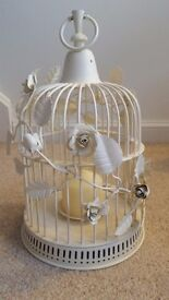 Decorative White Bird Cage Centre Piece with Candle - Perfect for Wedding Decorations