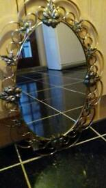 Beautiful Gold Oval decorative wall mirror.