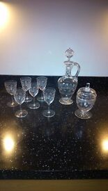 Edwardian Etched Sherry Glasses, Decanter and Bon Bon jar with lid