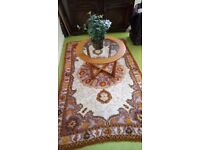 Seventies rug original cream with orange and brown pattern large.