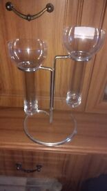 Wine Glass Table Party Centre Piece with steel stand, pair extra large wine Glasses new with tags.