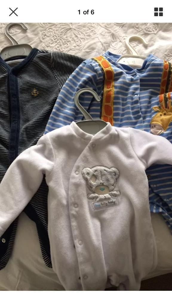 Baby sleep suits plus sleeping bag ( Jo Jo Maman Bebe, MnS, Tatty Teddy)