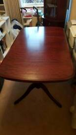 Dining room table, chairs, corner unit, and table