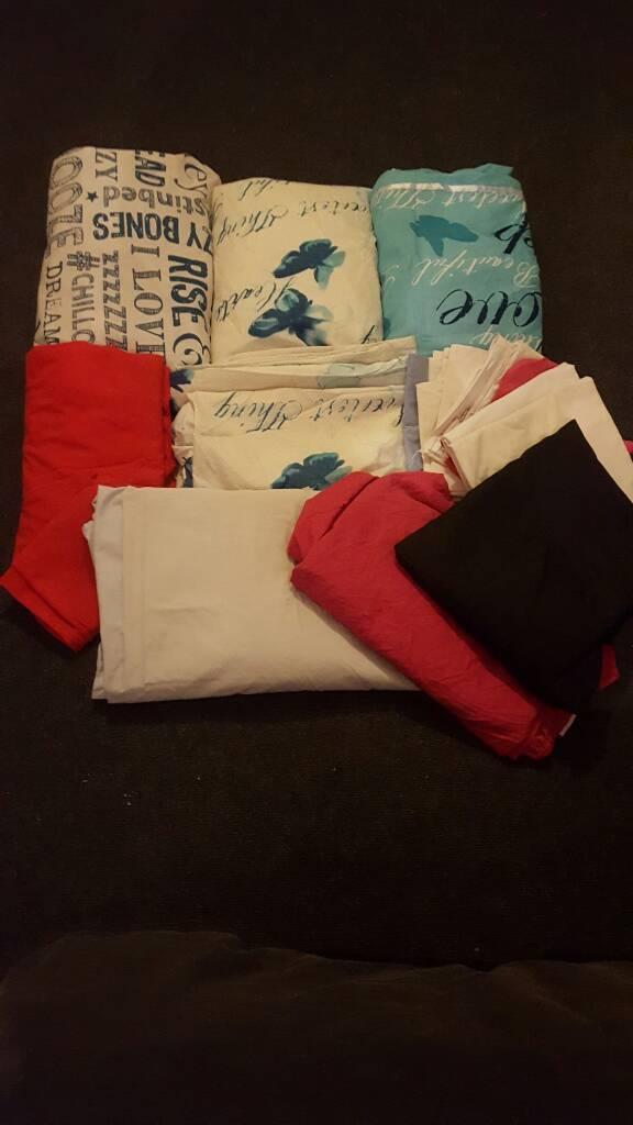 Bundle of bed linen.