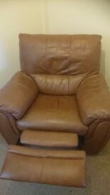 Leather manual recliner chair including delivery . Still for sale