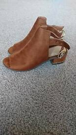 Size 5, New, never worn faux-suede peep toe boots