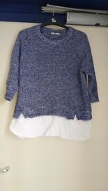 Ladies size 14 blue and white jumper
