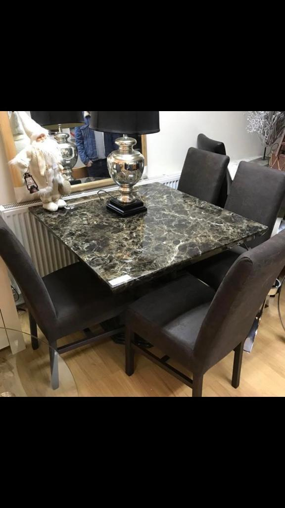 Beautiful Square Mocha Engineered Marble Dining Table With 4 Fabric Chairs