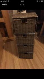 Dark rattan woven drawer unit for bathroom storage