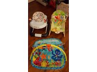 Baby walker, bouncer and play mat