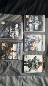 Playstation 3 shooting games (including battlefield 3 and 4, call of duty ghosts, sniper)