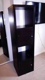 IKEA Kallax shelving unit with 2 shelving inserts (black-brown)