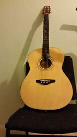 Accousitc guitar with new strings.