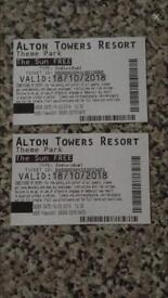 10 Alton Towers Tickets 18/10/18 ONLY