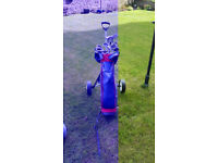 Golf clubs, bag and trolley for sale.