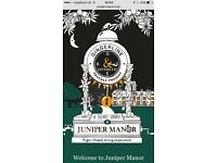 24 June 19.30 Two tickets to Experiential dining Juniper Manor . Cost £147 selling for £120