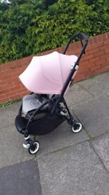Bugaboo Bee 3, black chassis, grey melange seat, soft pink extendable hood - 1 yr old