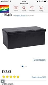 Black faux leather x-large ottoman and storage box