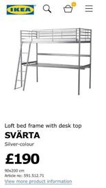 IKEA HIGH BED WITH LARGE DESK