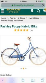 Blue pashley bike with basket